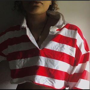 HI-Cropped Striped long sleeve shirt
